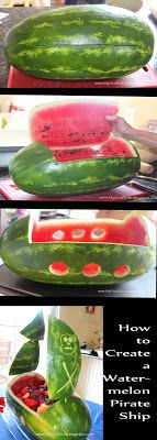 Step-by-step directions to create a watermelon pirate ship