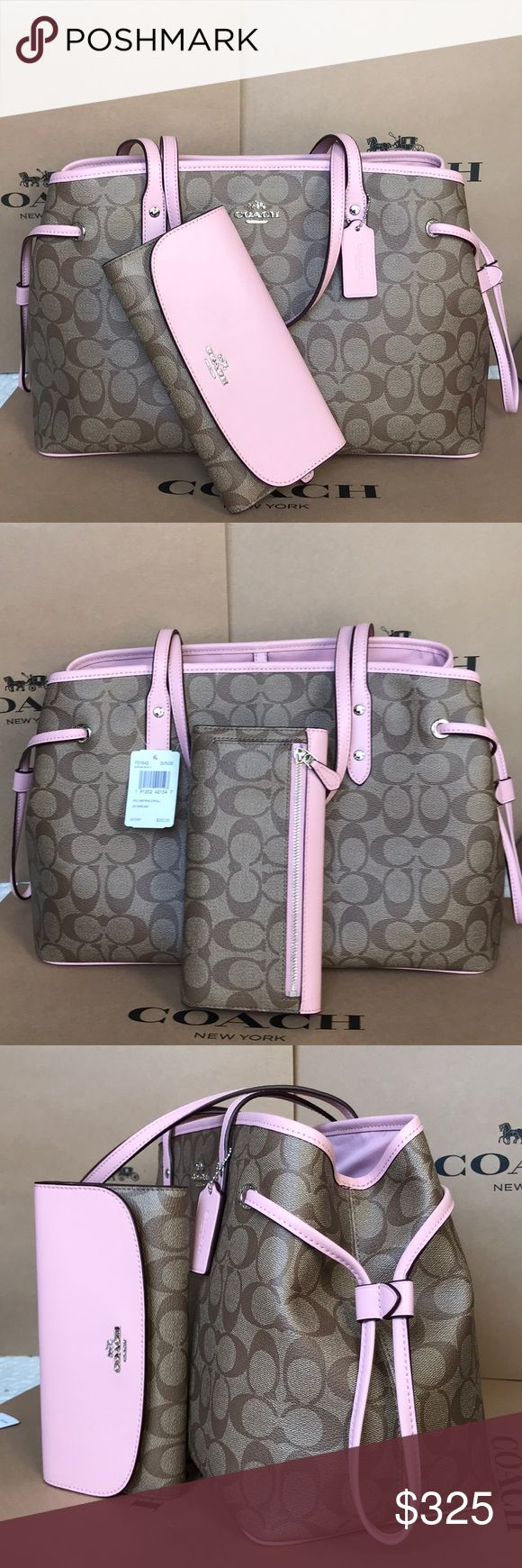 🍀Coach Set🍀 100% Authentic Coach Tote Bag and Checkbook Wallet, brand new with tag!😍😍😍 Coach Bags Totes