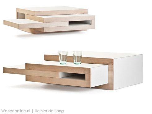 Een koffietafel die zich aanpast aan jouw 'koffiebehoefte', dat is REK. Komt er bezoek, zet stoelen bij en schuif de tafel uit.  http://wonenonline.blogspot.nl/2013/01/rek-salontafel.html#