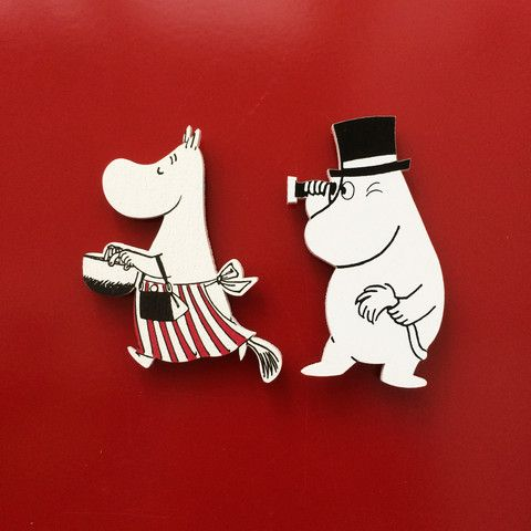 Moominmamma and Moominpappa wooden magnets by Aprilmai