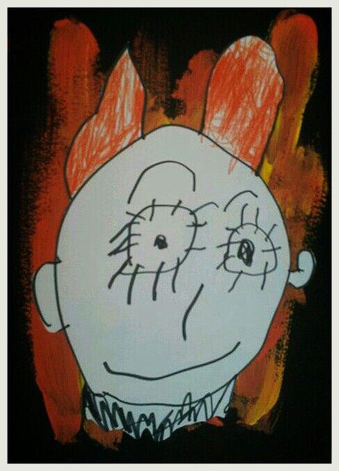 El dimoni (fons de tempera sobre cartolina). 3 anys.