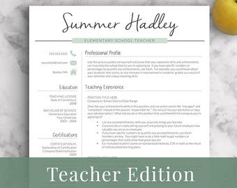 teacher resume template for word and pages 1 by landeddesignstudio