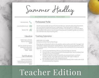 Creative Teacher Resume Template for Word & by LandedDesignStudio
