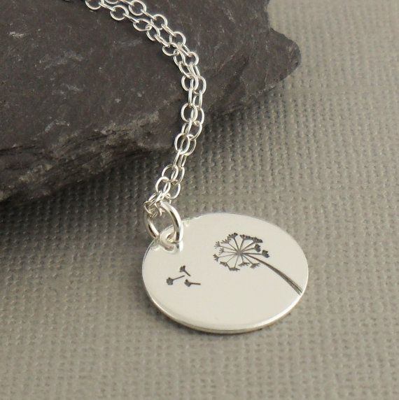 Wish Sterling Silver Necklace 925 Dandelion by PuranaJewellery