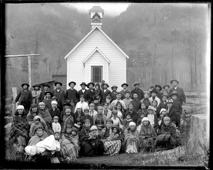Group of people in front of church in Squamish -- many are First Nations VPL Accession Number: 19928 Date: 189- Photographer / Studio: Bailey Bros.. http://www3.vpl.ca/spe/histphotos/
