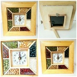 Clock made of wood, grains and pulses with added preservatives