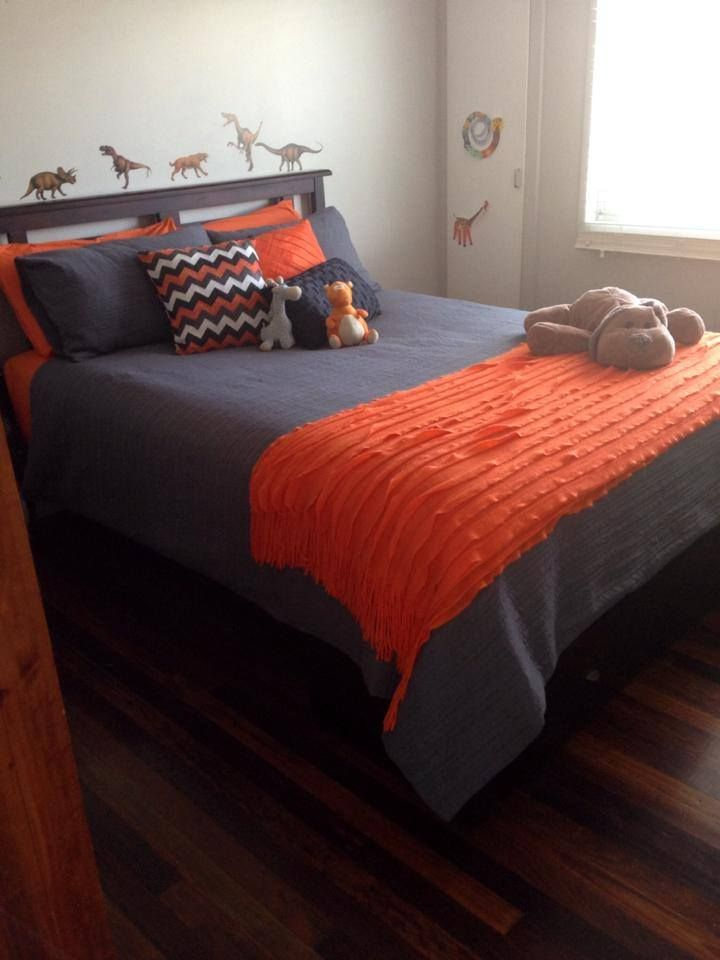 Taya Charcoal with Orange accessories and sheets all from Lorraine Lea Linen. Image thanks to fellow consultant Mandy Hudson