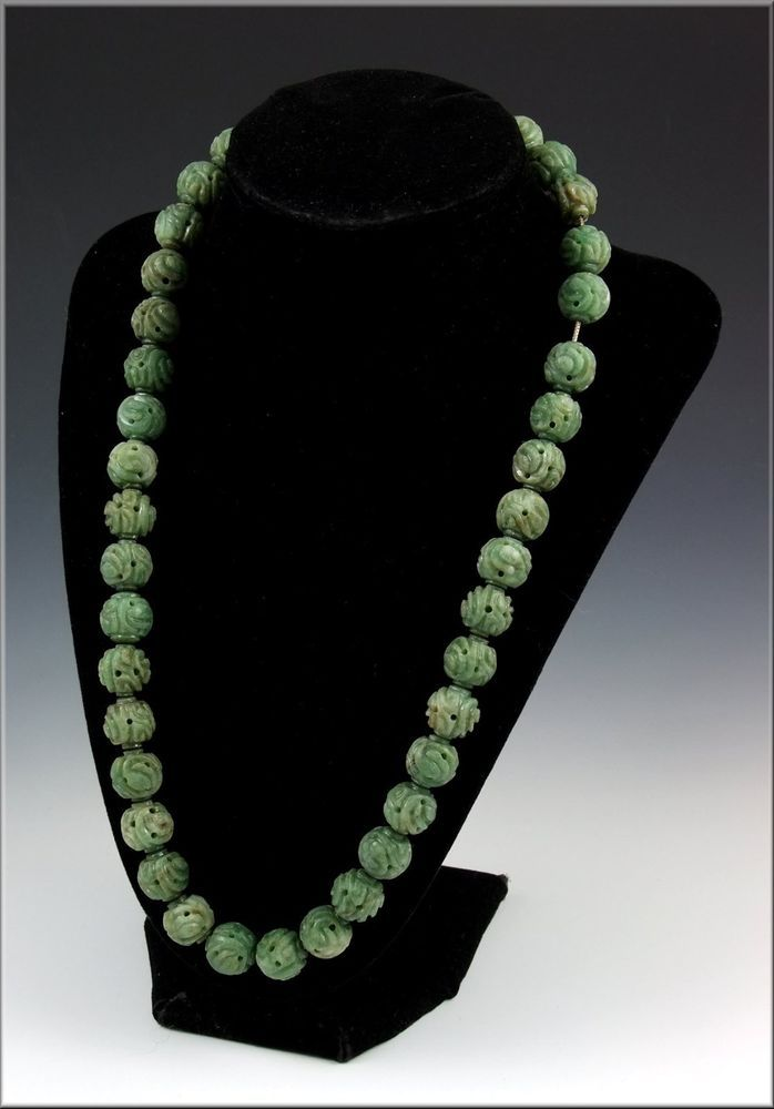 Lovely Antique 19thC Chinese Carved Apple Jade Necklace