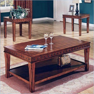 Steve Silver Odessa Coffee Table and End Table Set in Chestnut - DA2500