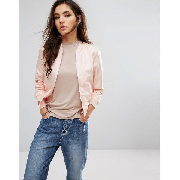 Noisy May Shiny Bomber ($36) ❤ liked on Polyvore featuring outerwear, jackets, pink, blouson jacket, shiny jacket, pocket jacket, lightweight bomber jacket and pink bomber jackets