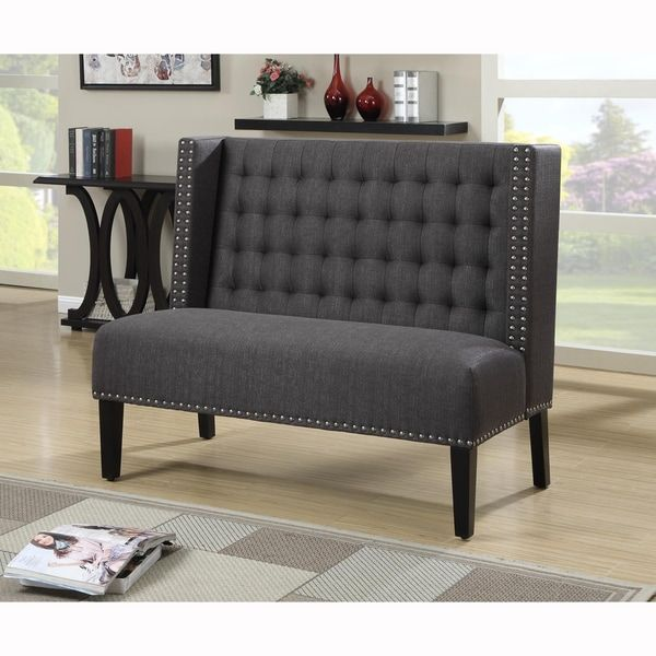 Dark Grey Tufted Upholstered Banquette Bench