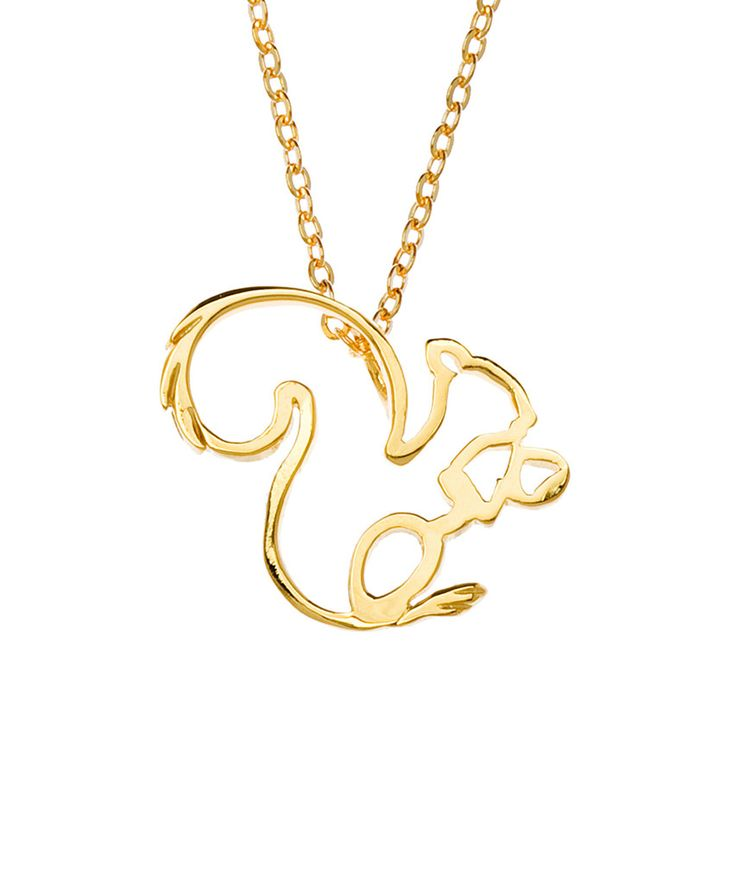 Gold Plated Squirrel Silhouette Necklace
