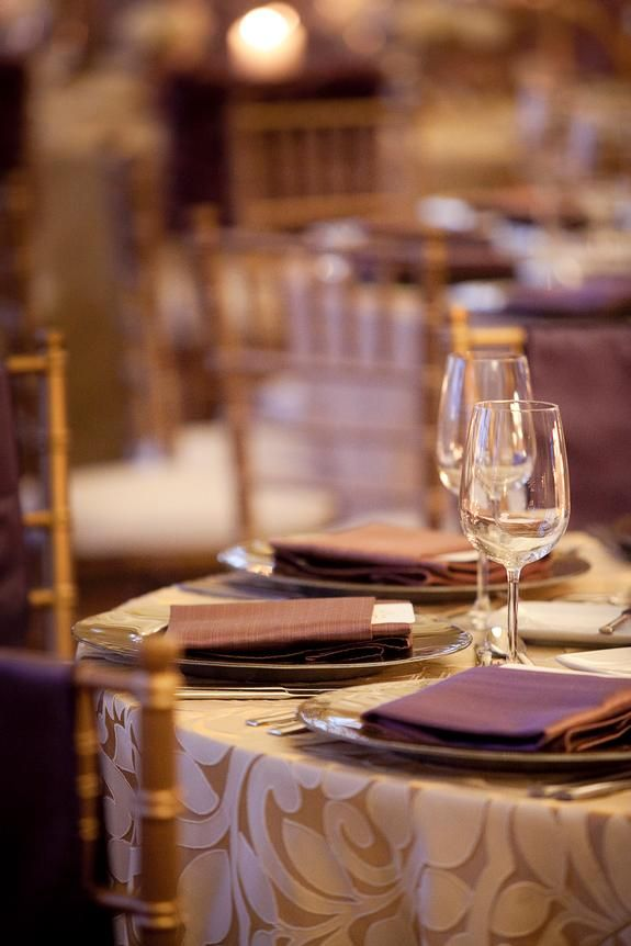 Gold And Purple Table Decor, Lillian Cashmere Gold Tablecloth, Purple  Napkins | Linen Effects