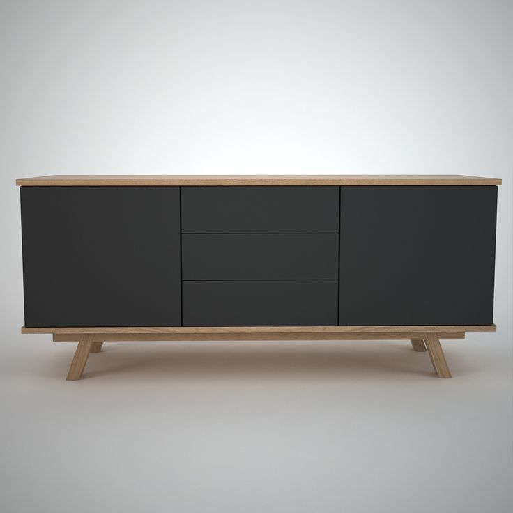 Ottawa - Contemporary Sideboard Finished in Anthracite and Oak. 2 Outer Doors and 3 central drawers.