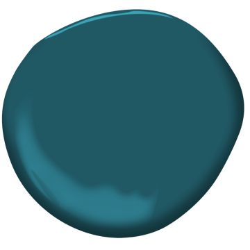Galápagos Turquoise 2057-20 | Benjamin Moore. Mirroring the glistening Pacific Ocean waters, this deep, dark turquoise gets added depth from a dose of black.