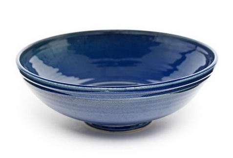 Good size beautiful blue bowl from We Make Pots - for your rice or your dried flowers.    Earthenware with blue glaze.    Dimensions: h. 5cm, dia. 18cm.    Available from Spring Fling webshop. £32.00