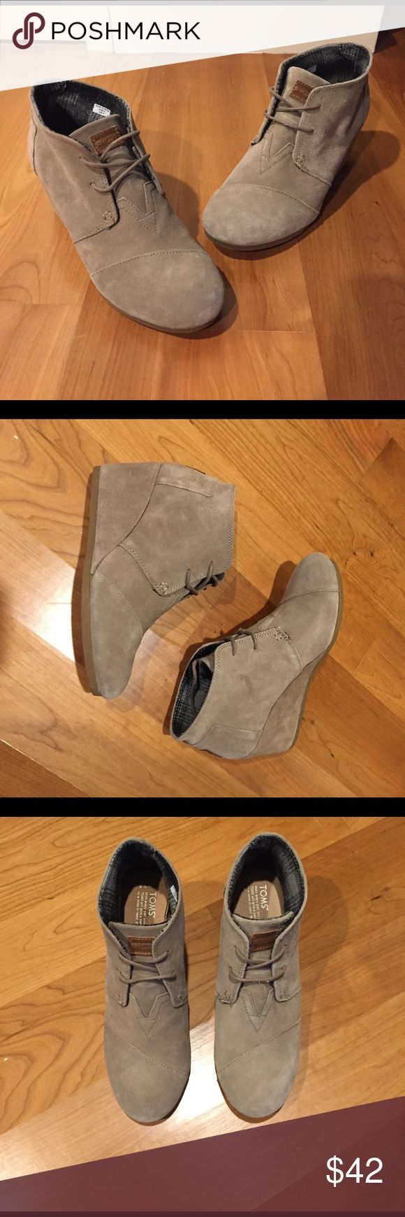 TOMS taupe suede wedges TOMS taupe suede desert wedges in a size 9.5. They are in amazing condition! TOMS Shoes Wedges