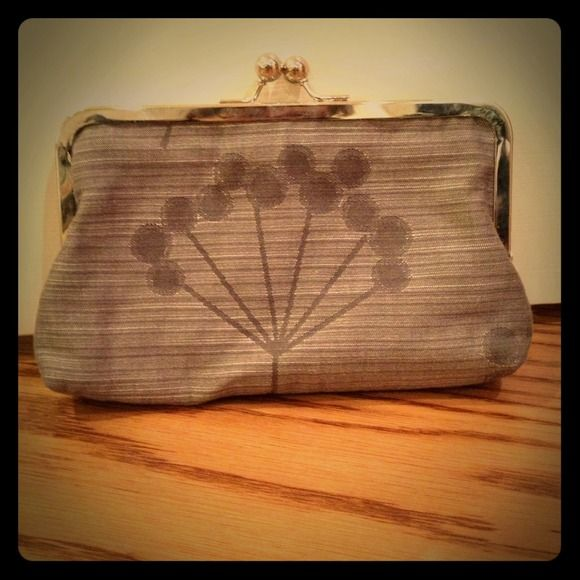 Lavender custom clutch Lavender custom clutch crafted from mod-style Amy Butler fabric. Silver hardware. Bags Clutches & Wristlets