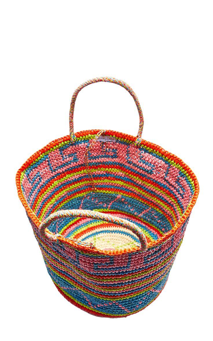 Maxi Straw Tote in Tribal Print by Sensi Studio - Moda Operandi