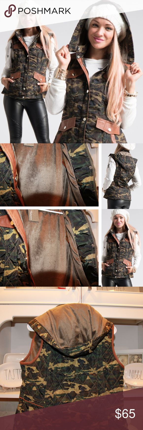 Camo vest with faux fur lining, hooded camo vest Only 3 LEFT! Top seller! camo vest with faux fur, quilted camo vest for women. SUPERB quality! NWT  Faux fur lined camouflage vest  Faux fur lined in the inside (see pics), leather decals around pockets & other areas Stylish & high quality camo vest, AMAZING!  Honestly, if the one in my size doesn't sell soon I'll be stealing it for my closet haha. Love this! 100%POLYESTER. Major high quality with this!   Quilted vest, quilted camouflage vest…