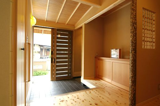 "Japanese ""genkan."" Ground-level entrance, step up into house."