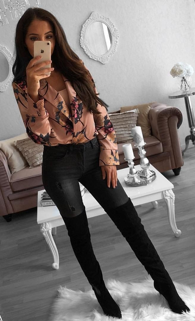 #fall #outfits women's brown long-sleeved shirt, black denim skinny jeans, and pair of black booties outfit