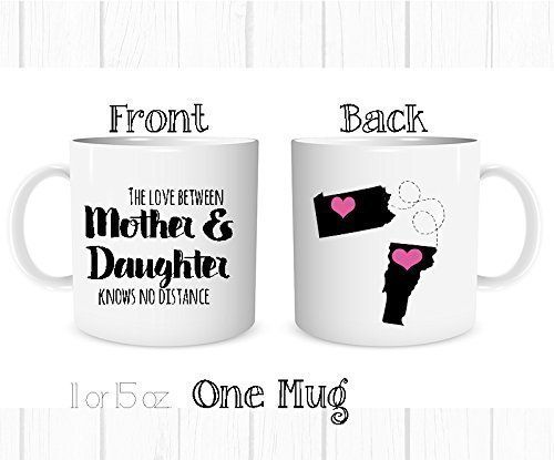 Personalized+The+Love+Between+a+Mother+and+Daughter+Knows+No+Distance+Mug,+Personalized+Long+Distance+State+Coffee+Cup,+All+States+and+Countries,+Mother's+Day+Mom