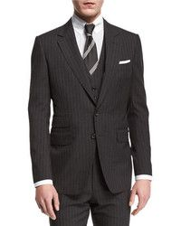 Tom Ford Buckley Base Pinstripe Three Piece Wool Suit Charcoal