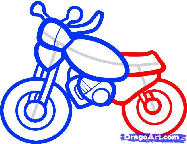 how to draw a motorcycle for kids