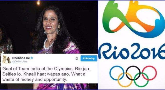 Shobhaa De Makes a Rude Comment About Olympic Players, and Celebrities Respond…