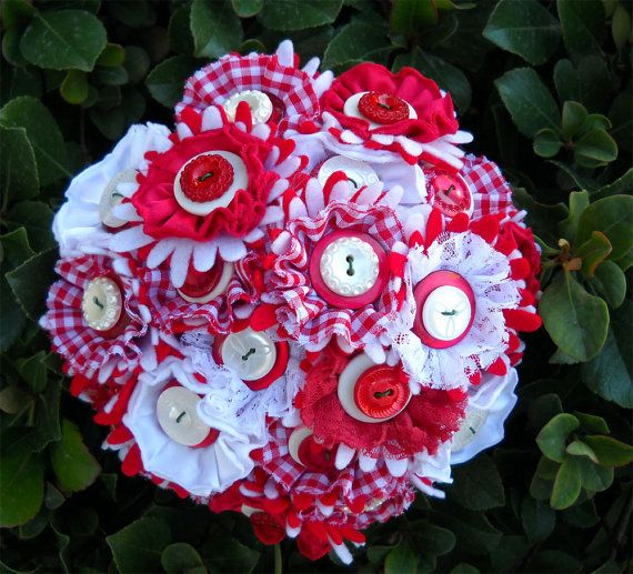 Red Gingham Wedding Fabric Button Bride Bouquet by kottonkandy52, $40.00
