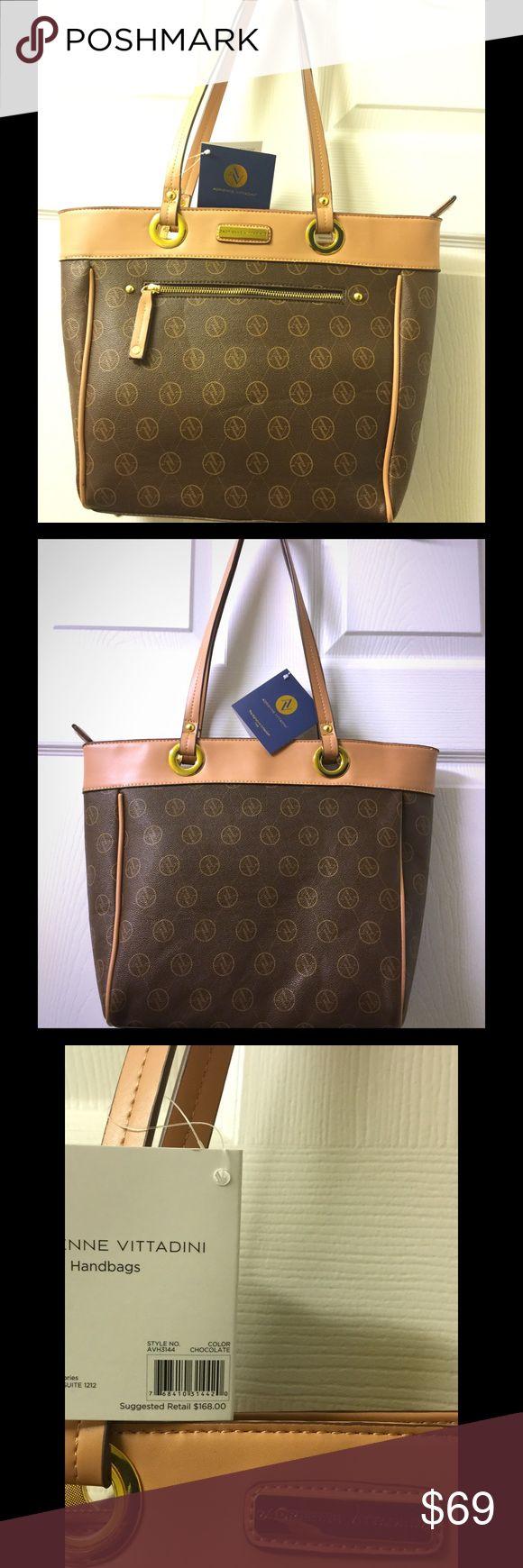 Authentic Adrienne Vittadini Handbag New Authentic Adrienne Vittadini Handbag, chocolate color, medium size, very nice purse,European brand. Adrienne Vittadini Bags Shoulder Bags