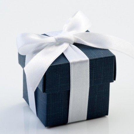 La boite à dragées cube bleu marine