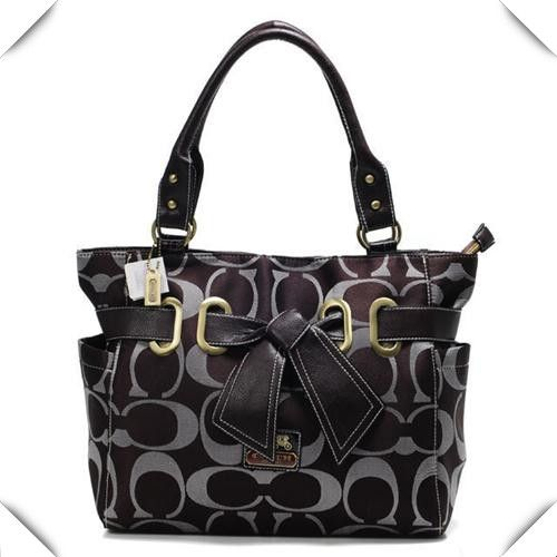 Cheap And Fashion Coach Poppy Bowknot Signature Medium Coffee Totes ANA Are
