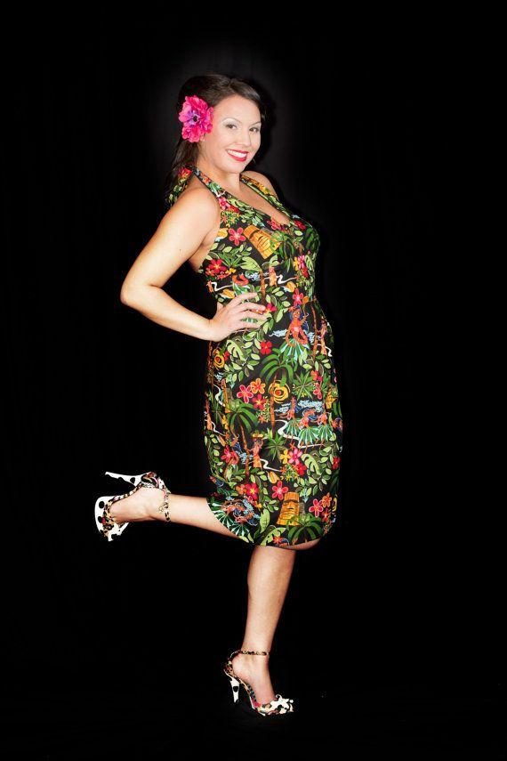 Wrap Dress Hawaiian Luau Dress Tiki Dress by CherryTiki
