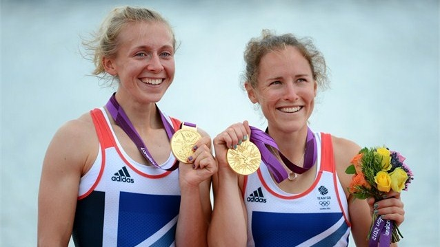 Katherine Copeland and Sophie Hosking of Great Britain celebrate winning the Lightweight Women's Double Sculls Final