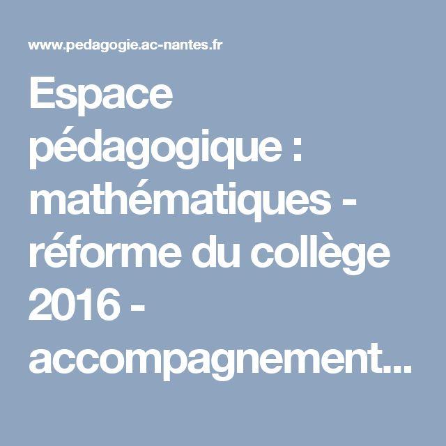 Espace pédagogique : mathématiques - réforme du collège 2016 - accompagnement personnalisé