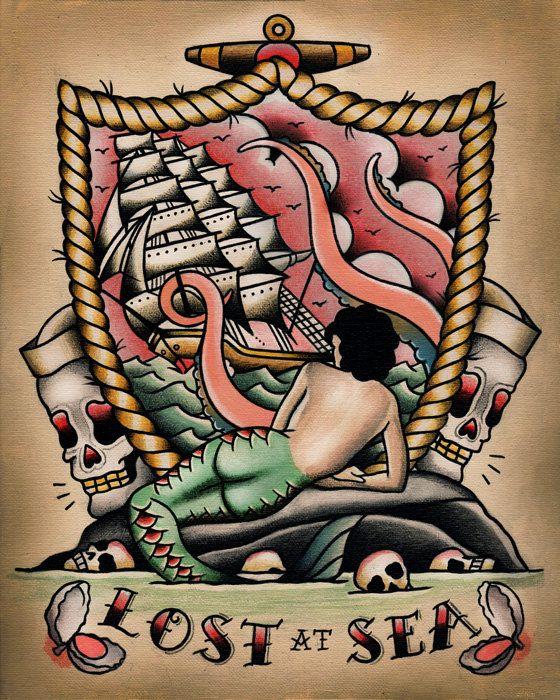 Lost at Sea Mermaid Nautical Tattoo Flash by ParlorTattooPrints