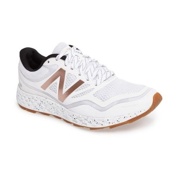 Women's New Balance Gobi Fresh Foam Trail Running Shoe (120 CAD) ❤ liked on Polyvore featuring shoes, athletic shoes, white, new balance, new balance shoes, white running shoes, running shoes and mesh shoes