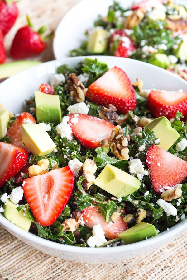 The Best Healthy Hangover Cures | Nutristionist Approved Recipes | Strawberry Avocado Kale Salad