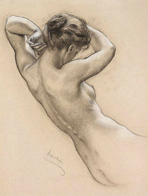 """Study for a Water Nymph in Prospero Summoning Nymphs and Deities"", Study of Florence Bird 1903,  by Herbert James Draper (1863 – 22 September 1920)"