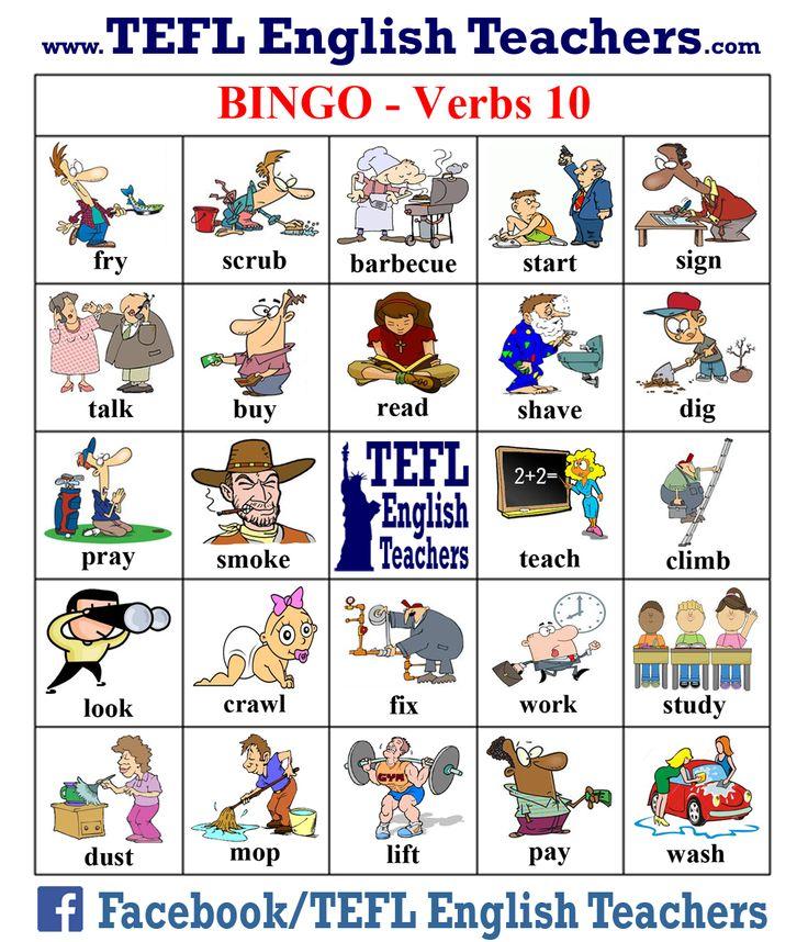 TEFL English Teachers - BINGO Verbs game board 10 of 20