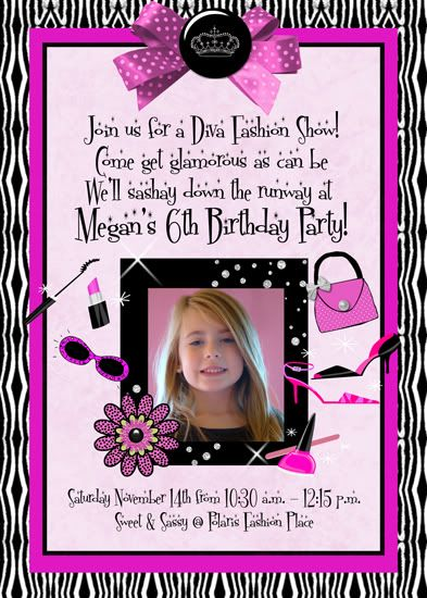 fashion show invitations for little girls | Details about 1ST FIRST BIRTHDAY DIVA GIRLS BIRTHDAY PARTY INVITATION