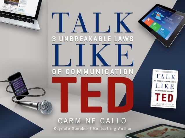 Talk Like TED: 3 Unbreakable Laws of Communication  by Carmine  Gallo via slideshare