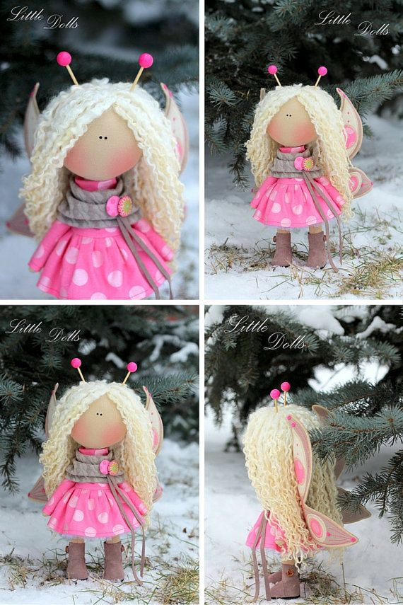 Bee doll handmade Fabric doll Tilda doll pink by AnnKirillartPlace