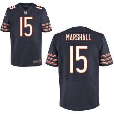 New Bears 15 Brandon Marshall Nike Elite Jersey Dark Blue Team Color