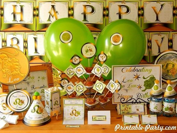 Leo Zodiac Printable Party Decorations | Astrology Sign Birthday Supplies