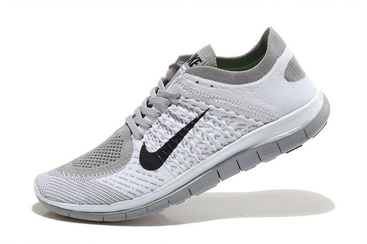 Fashion Nike Free 4.0 Flyknit Women White Grey Black Running Shoes For Sale