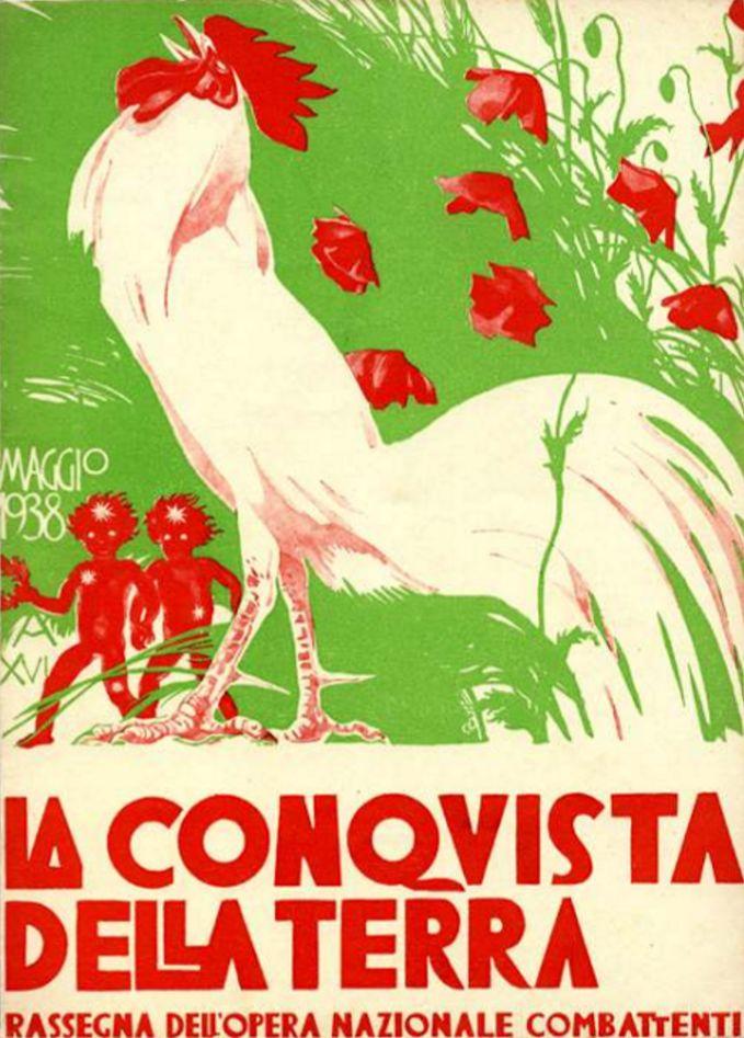 Duilio Cambellotti (1876-1960, Italy), May 1938, La Conquista della Terra (The conquest of the Earth), Woodcut, Magazine cover published by the Fascist organization 'Opera Nazionale Combattenti' between 1935 &1939.