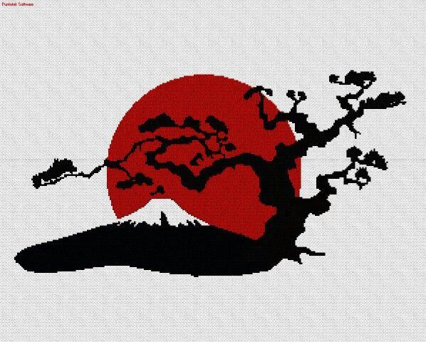 Volcán y árbol en punto cruz